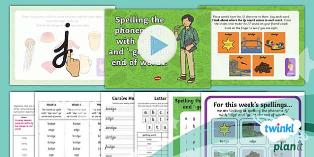 PlanIt Y2 Term 1A W4: /j/ Spelt ' dge' ' ge' Spelling Pack