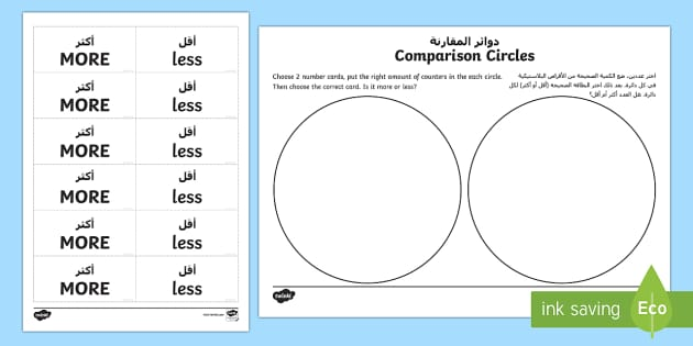 UAE EYFS Compare Circles Maths Activity Mats Arabic/English - UAE EYFS Maths General, more, less, number, comparison, more or less, EYFS, UAE translation