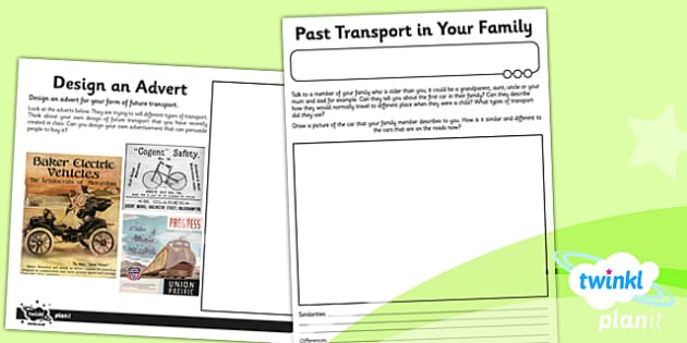 PlanIt History KS1 Travel and Transport Unit Home Learning Tasks