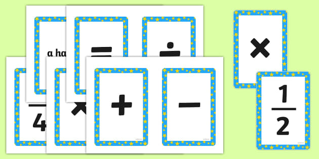 Maths Symbols Cards - math, symbol, numeracy, visual aid, visuals