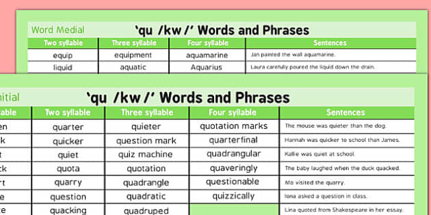 QU Word List - speech sounds, phonology, articulation, speech therapy, cluster reduction