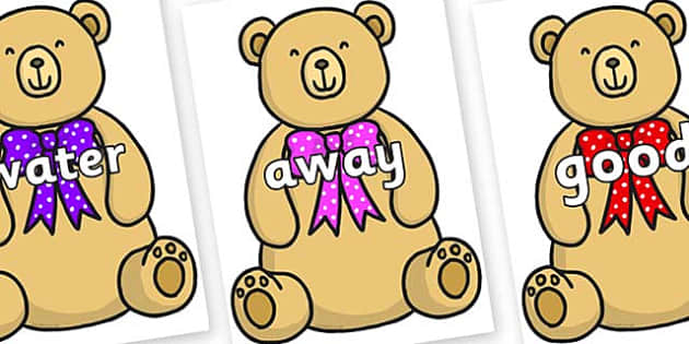 Next 200 Common Words on Bow Tie Teddy - Next 200 Common Words on  - DfES Letters and Sounds, Letters and Sounds, Letters and sounds words, Common words, 200 common words