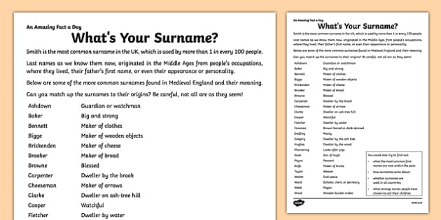 What's Your Surname? Activity Sheet - amazing fact a day, activity sheet, activity, activities, surname, worksheet