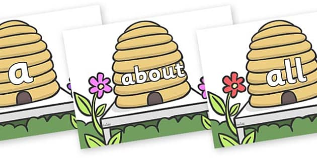 100 High Frequency Words on Beehives - High frequency words, hfw, DfES Letters and Sounds, Letters and Sounds, display words