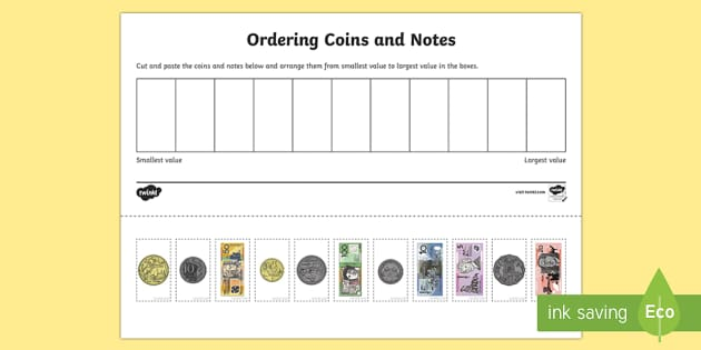 Ordering Coins and Notes Activity Sheet  - Australian currency, money, notes, coins, Australian curriculum, maths, ACMNA034 , worksheet, Austra