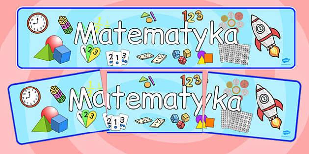Banner na gazetkę ścienną Matematyka po polsku - szkoła , Polish