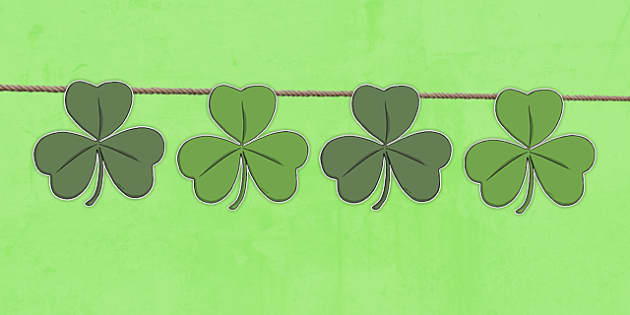 St Patricks Day Shamrock Shape Bunting - st patricks day, display