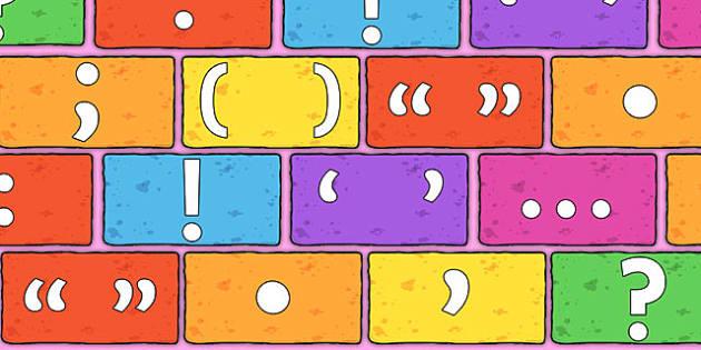 Punctuation Symbols on Multicoloured Bricks - punctuation, symbols