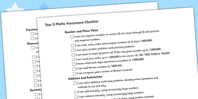 Year 5 Maths Assessment Checklist - maths, assessment, checklist