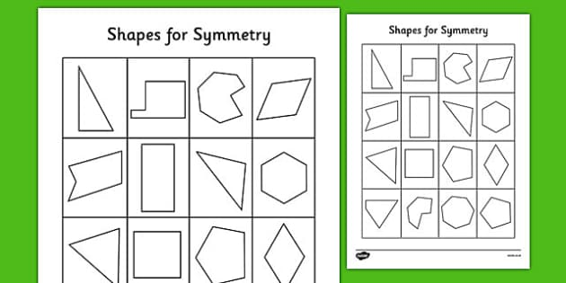 Shapes for Symmetry Worksheet - symmetry, shapes, mirror, lines, copy