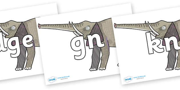 Silent Letters on Elephant to Support Teaching on The Bad Tempered Ladybird - Silent Letters, silent letter, letter blend, consonant, consonants, digraph, trigraph, A-Z letters, literacy, alphabet, letters, alternative sounds