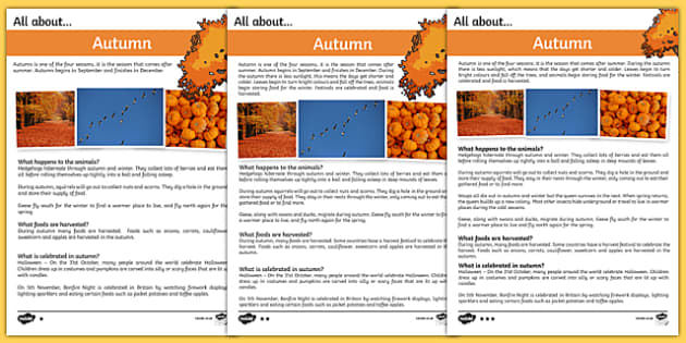 Autumn Differentiated Fact File