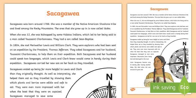 Native Americans: Sacagawea Information Sheet-Scottish - Native Americans, Shoshone, Toussaint Charbonneau, Meriwether Lewis, William Clark, famous Native Am