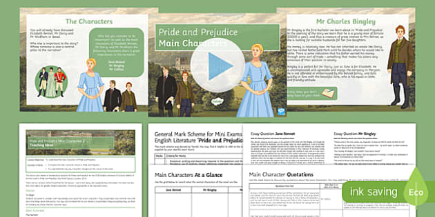 Pride and Prejudice Main Characters Lesson Pack 2.