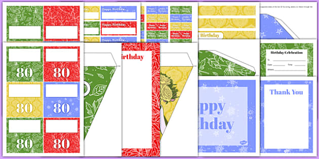 80th Birthday Party Pack - 80th birthday party, 80th birthday, birthday party, party pack