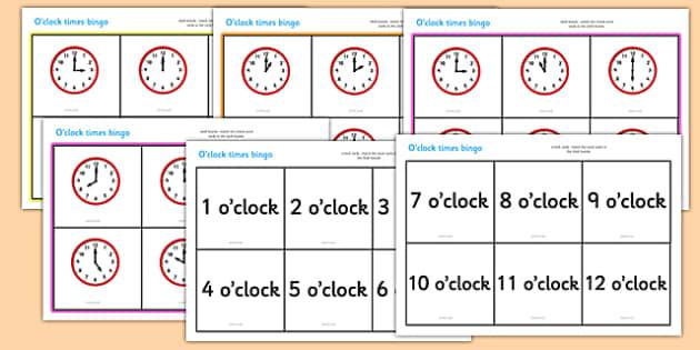 O' Clock Time Bingo - Time bingo, time game, Time resource, Time vocaulary, clock face, Oclock, half past, quarter past, quarter to, shapes spaces measures