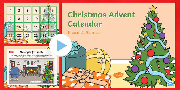 Phase 2 Christmas Phonics Advent Calendar PowerPoint