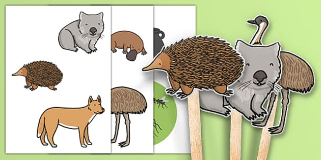 The Stew Stick Puppets - australia, wombat stew, marcia k vaughan, story book, stick puppets