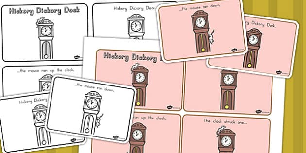 Hickory Dickory Dock Story Sequencing A4 - nursery, sequencing