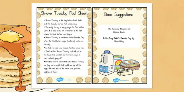 Pancake Day Fact Sheet and Book Suggestions - australia, pancake