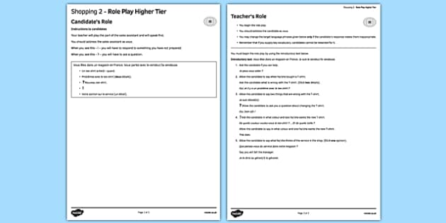 Faire les magasins 2 Jeu de rôle Higher Tier - french, Shopping, magasin, role play, higher, speaking