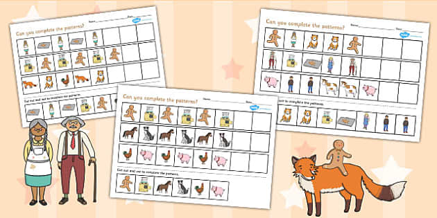 The Gingerbread Man Complete the Pattern Worksheet - pattern
