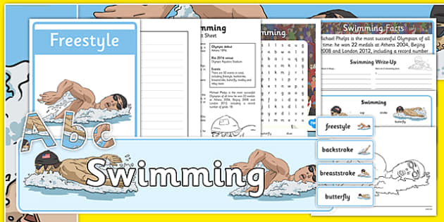 The Olympics Swimming Resource Pack - Swimming, Olympics, Olympic Games, sports, Olympic, London, 2012, resource pack, pack resources, activity, Olympic torch, events, flag, countries, medal, Olympic Rings, mascots, flame, compete