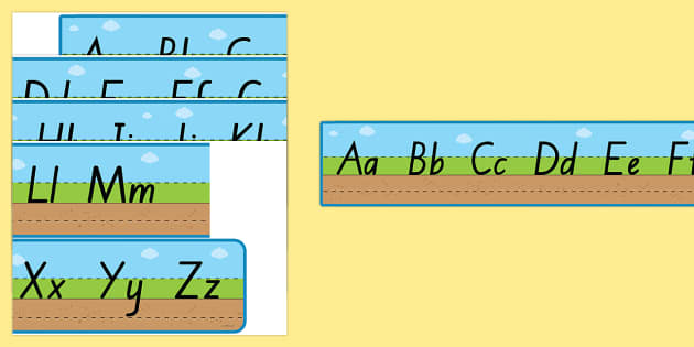 New Zealand Font Ground Grass Sky Upper and Lower Case Alphabet Strips - New Zealand Handwriting Resources, handwriting, letter formation, writing guides, handwriting guides