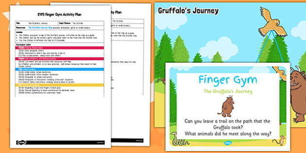 EYFS Gruffalo's Journey to Support Teaching on The Gruffalo Finger Gym Activity Plan and Prompt Card Pack