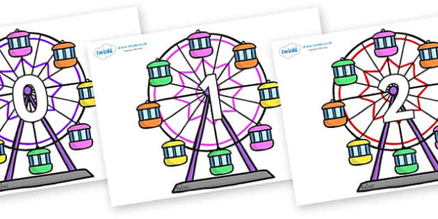Numbers 0-100 on Ferris Wheels - 0-100, foundation stage numeracy, Number recognition, Number flashcards, counting, number frieze, Display numbers, number posters