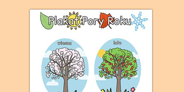 4 pory roku na A4 po polsku - cztery, plakat