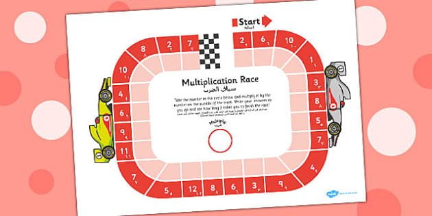 Multiplication Race Worksheet Arabic Translation - arabic, multiplication, race