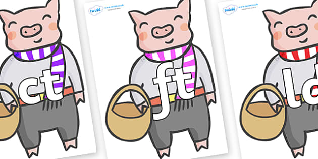 Final Letter Blends on Little Piggy - Final Letters, final letter, letter blend, letter blends, consonant, consonants, digraph, trigraph, literacy, alphabet, letters, foundation stage literacy