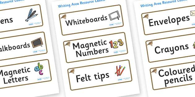 Lark Themed Editable Writing Area Resource Labels - Themed writing resource labels, literacy area labels, writing area resources, Label template, Resource Label, Name Labels, Editable Labels, Drawer Labels, KS1 Labels, Foundation Labels, Foundation S