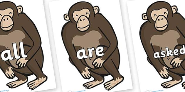 Tricky Words on Chimps - Tricky words, DfES Letters and Sounds, Letters and sounds, display, words