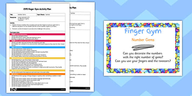 EYFS Number Gems Finger Gym Activity Plan and Prompt Card Pack