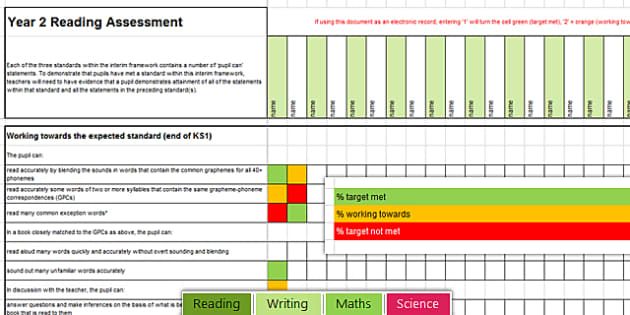 Y2 NC 2014 Interim Assessment Spreadsheet Reading Writing Maths Science - read, write, math, science, ks1, assessment, tracking