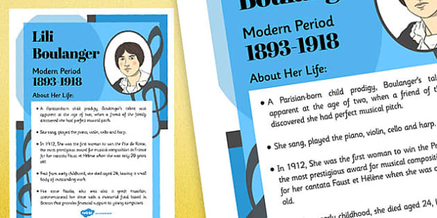 Lili Boulanger Composer Display Poster - music, female, composers, lili boulanger
