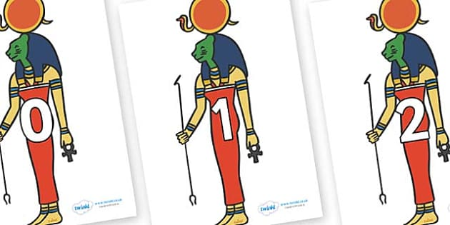 Numbers 0-31 on Egyptian Icons - 0-31, foundation stage numeracy, Number recognition, Number flashcards, counting, number frieze, Display numbers, number posters