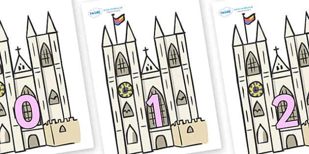 Numbers 0-100 on Churches - 0-100, foundation stage numeracy, Number recognition, Number flashcards, counting, number frieze, Display numbers, number posters