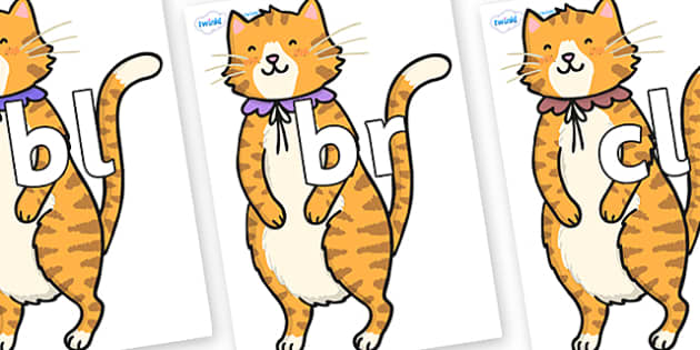 Initial Letter Blends on Pussycat - Initial Letters, initial letter, letter blend, letter blends, consonant, consonants, digraph, trigraph, literacy, alphabet, letters, foundation stage literacy