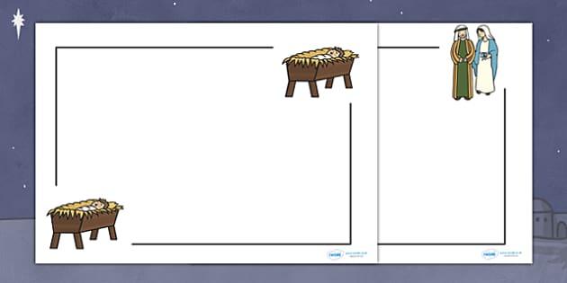 Nativity Page Borders Landscape - page border, border, frame, writing frame, landscape nativity page borders, nativity page borders, nativity, writing template, writing aid, writing, A4 page, page edge, writing activities, lined page, lined pages