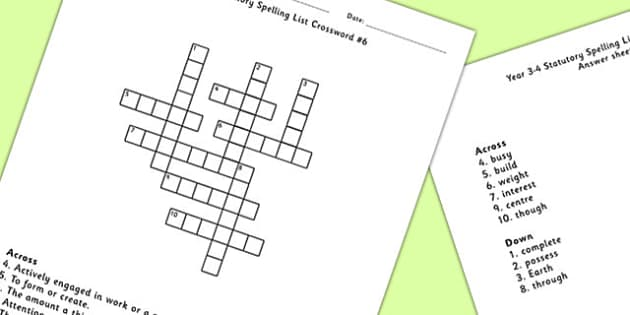 Year 3-4 Statutory Spelling List Crossword 6 - crossword, spell