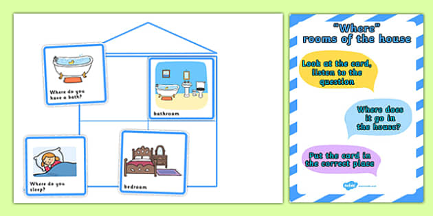 Where Rooms Of The House Cut And Stick Activity - houses, homes