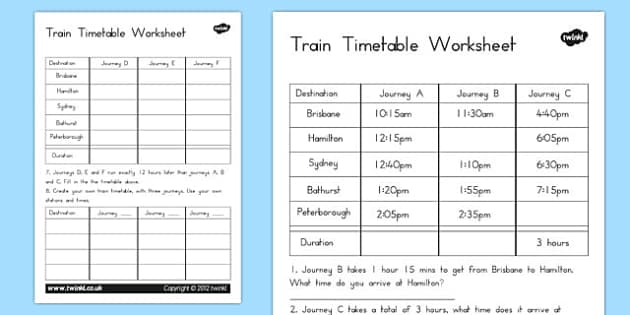 Free Worksheets Printable Timetable Worksheets Free Math – Timetable Maths Worksheets