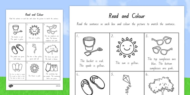 Summer Read and Colour Worksheet - nz, new zealand, seasons, weather, reading