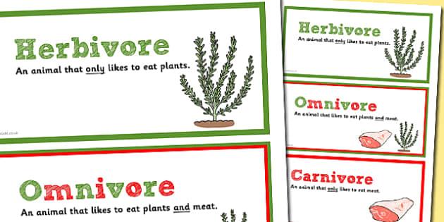 Herbivores Omnivores Carnivores Banner - Banner, Display banner