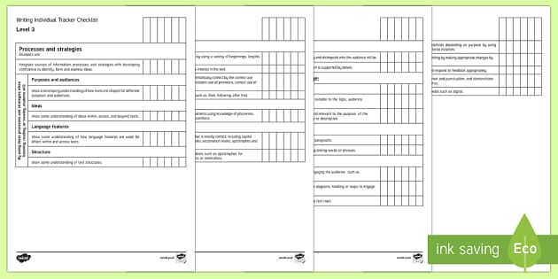 New Zealand Level 3 Writing Individual Tracker Checklist - Writing, Level 3, Assessment, Individual, Literacy