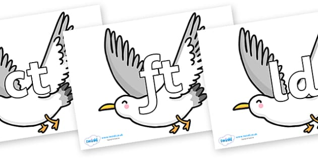 Final Letter Blends on Seagulls - Final Letters, final letter, letter blend, letter blends, consonant, consonants, digraph, trigraph, literacy, alphabet, letters, foundation stage literacy