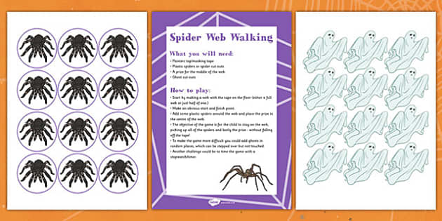 Spider Web Walking Halloween Party Game and Resource Pack - spider, Halloween, game